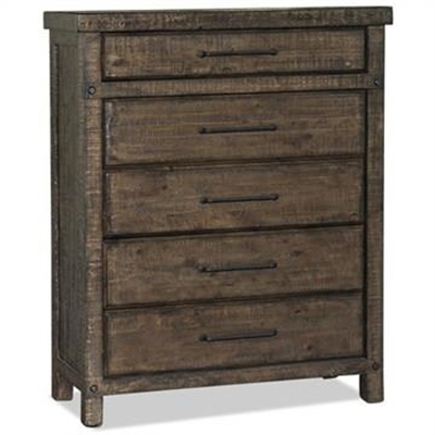 Montreal Rustic Recycled Pine Timber 5 Drawer Tallboy