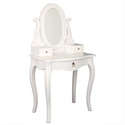 Queen Ann Mahogany Timber Oval Mirror Dressing Table, White