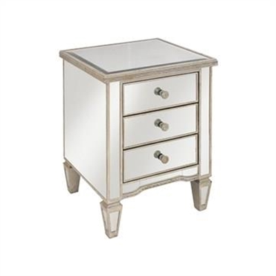 Cassidy Ribbed Top Mirrored 3 Drawer Bedside Table