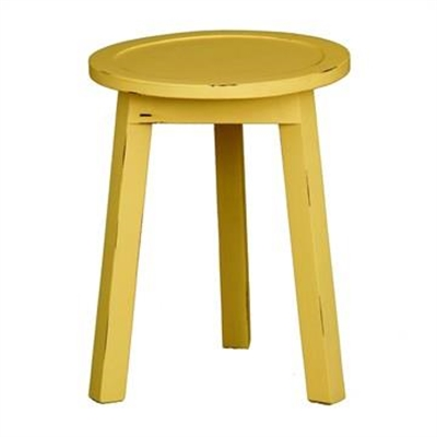 Budget Handcrafted Mahogany Timber Round Lamp Table, Olympic Yellow