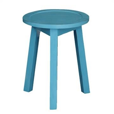 Budget Handcrafted Mahogany Timber Round Lamp Table, Atlantic Blue