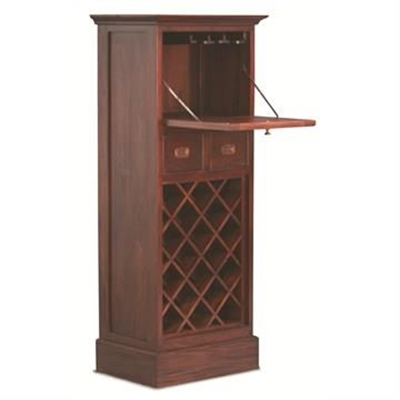 18-Bottle   2 Drawer   Fold Out Cabinet Solid Mahogany Wine Rack - Mahogany