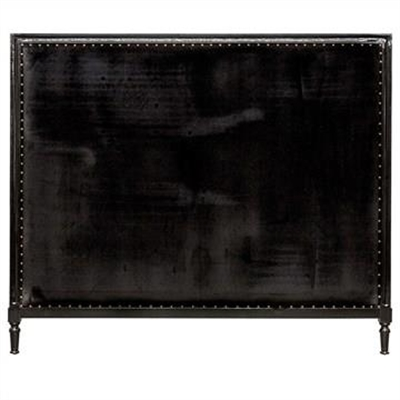 Georgian Fabric Bed Head, Queen Size, Black Velvet