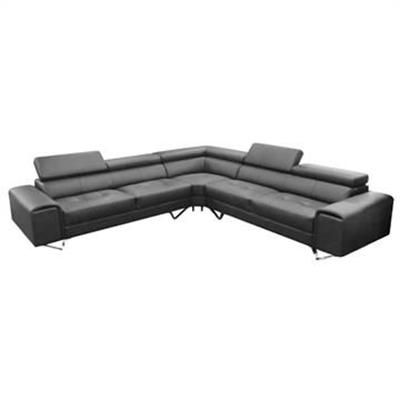Majorca Leather Corner Sofa, Black