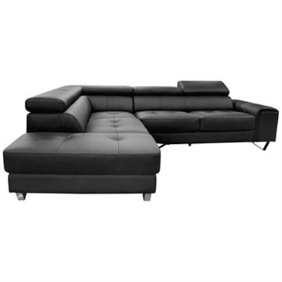 Majorca 2 Seater Leather Corner Sofa with Left Hand Facing Chaise, Black by Dodicci, a Sofas for sale on Style Sourcebook