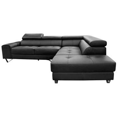 Majorca 2 Seater Leather Corner Sofa with Right Hand Facing Chaise, Black by Dodicci, a Sofas for sale on Style Sourcebook