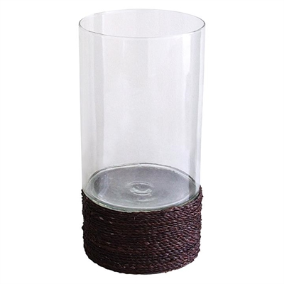 Glass Candle Holder with Seagrass Base