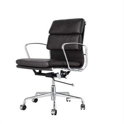 Replica Eames Italian Leather Soft Pad Office Chair, Mid Back, Black / Silver by Conception Living, a Chairs for sale on Style Sourcebook
