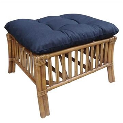 Sanibel Rattan Ottoman with Cushion - Tobacco/Charcoal