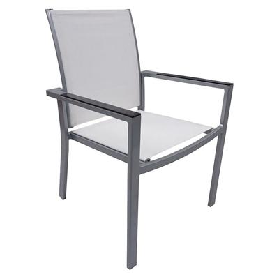 Portsea Outdoor Chair, Jasmine Metal Gloss Silver/Jasmine Hartman