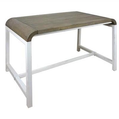 Hixton Solid Mango Wood Timber & Metal Desk, White
