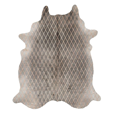 Arlequin Cow Hide Rug, Grey/Copper by Amigos De Hoy, a Hide Rugs for sale on Style Sourcebook