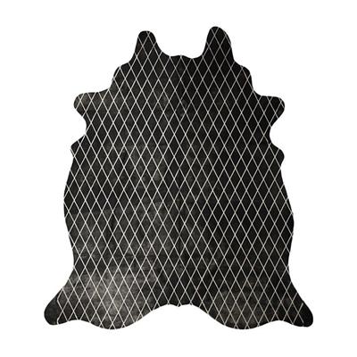 Arlequin Cow Hide Rug, Black/Silver