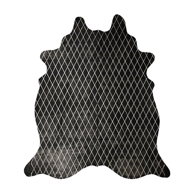 Arlequin Cow Hide Rug, Black/Silver