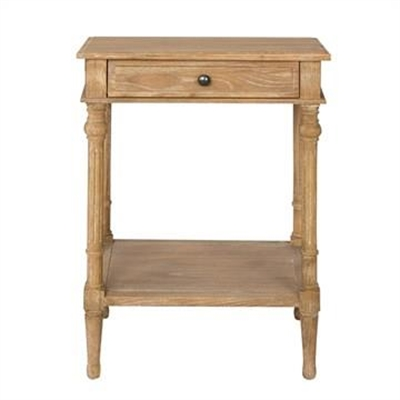 Georgian Solid American Oak Timber Single Drawer Side Table with Shelf by Huntington Lane, a Bedside Tables for sale on Style Sourcebook