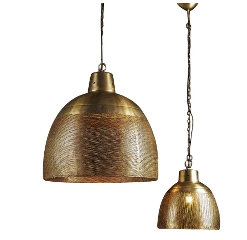 Brass Perforated Pendant Light - small