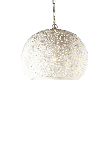 Perforated Round Pendant Light - White by Just in Place, a Pendant Lighting for sale on Style Sourcebook