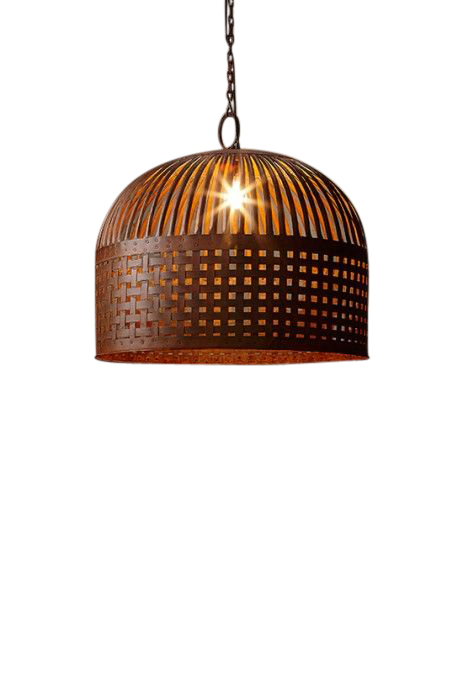 Woven Iron Strips Pendant Light - Rust - Large by Just in Place, a Pendant Lighting for sale on Style Sourcebook