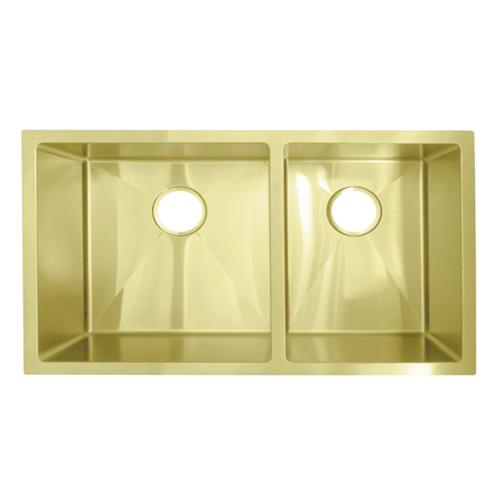 Vita Double Kitchen Sink 760mm -  Brass