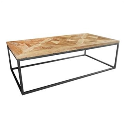 Bolden Parquet Timber Top Iron Coffee Table, 150cm by Manoir Chene, a Coffee Table for sale on Style Sourcebook