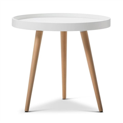 Aerin Retro Wooden 48cm Round Side Table - White by FLH, a Side Table for sale on Style Sourcebook
