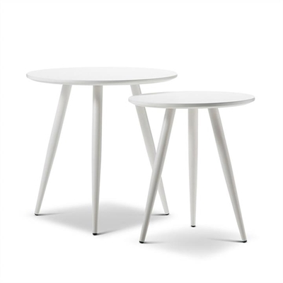 Zetta 2 Piece Round Side Table Set - White by FLH, a Side Table for sale on Style Sourcebook