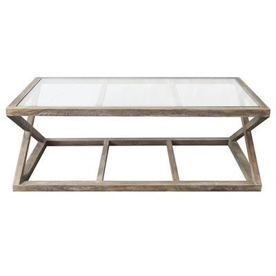 Valencia Glass Top Oak Timber Coffee Table, 130cm, Burnt Oak by Manoir Chene, a Coffee Table for sale on Style Sourcebook