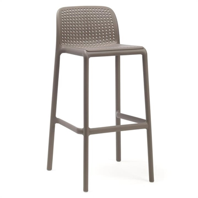 Bora Italian Made Commercial Grade Stackable Indoor/Outdoor Bar Stool , Taupe