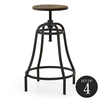 Frazier Steel Indoor/Outdoor Bar Stool with Bamboo Seat, Anthracite by El Diseno, a Bar Stools for sale on Style Sourcebook