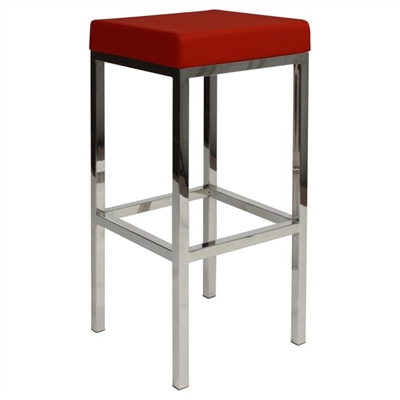 Oslo V2 Commercial Grade Vinyl Upholstered Stainless Steel Bar Stool - Red by Eagle Furn, a Bar Stools for sale on Style Sourcebook