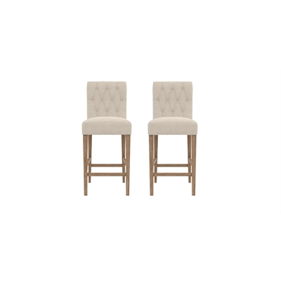 Espen Set of 2 Bar Stools French Beige Wire Brushed Solid Beech