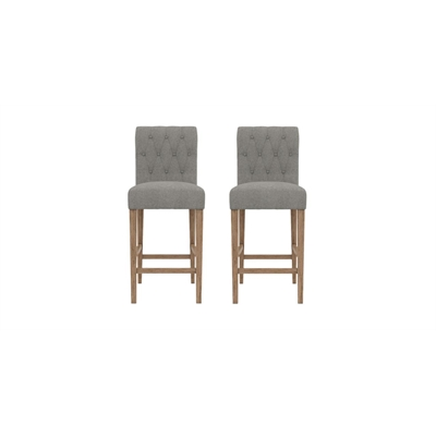 Espen Set of 2 Bar Stools Wire Brushed Solid Beech Stone Grey by Brosa, a Bar Stools for sale on Style Sourcebook