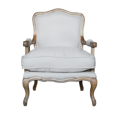Ethan Linen & Oak Timber Armchair, Weathered Oak / Oatmeal by Manoir Chene, a Chairs for sale on Style Sourcebook