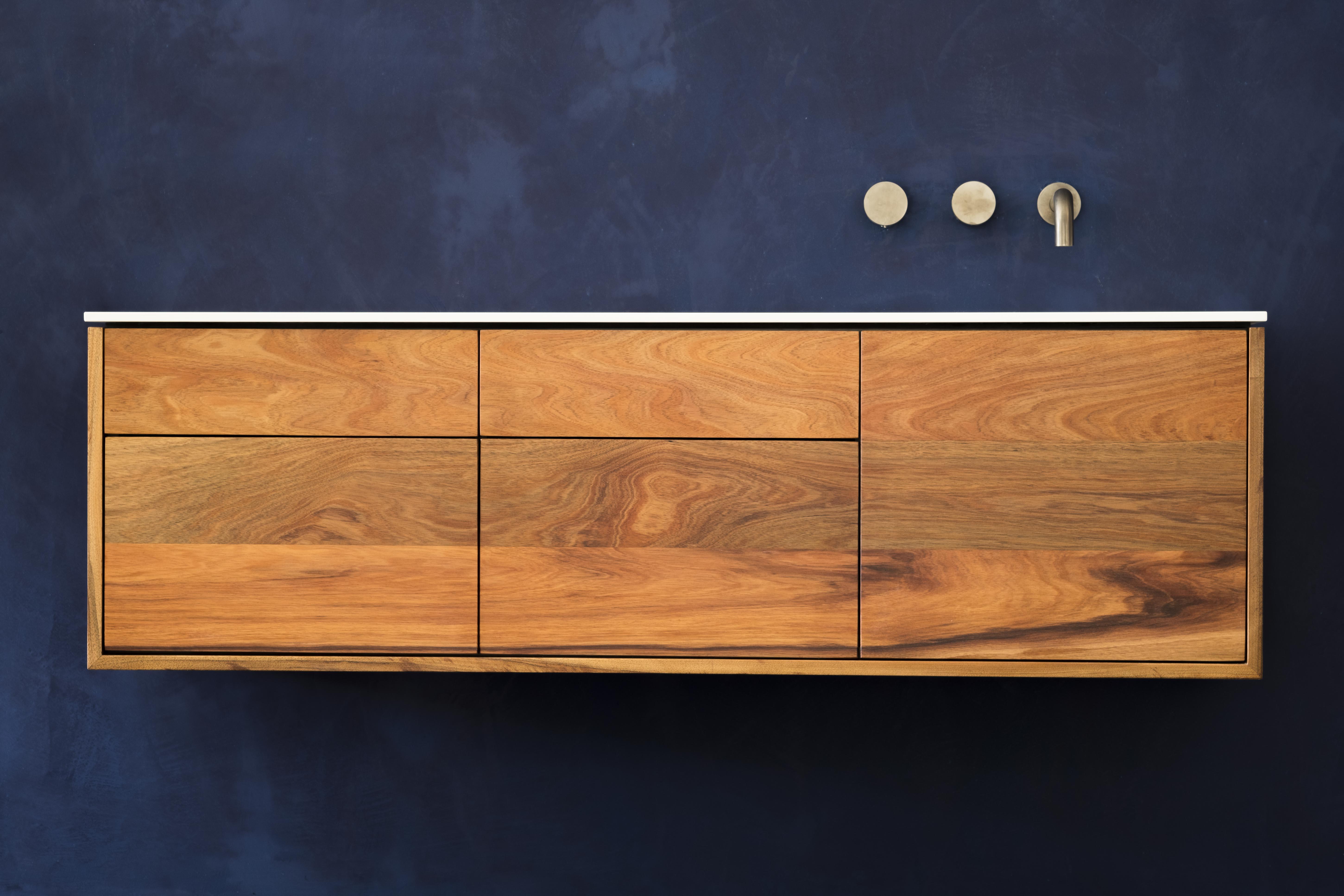 Stone and Wood Bathroom Vanity - Blackwood
