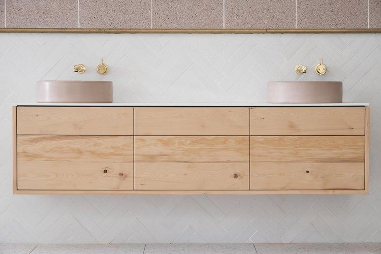 Stone and Wood Bathroom Vanity - Celery Top