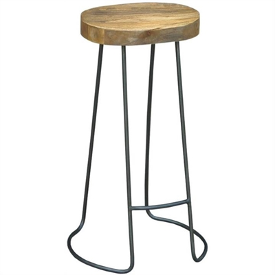 Hannah Metal Wire Bar Stool with Timber Seat,  Natural/Distressed Grey by Dodicci, a Bar Stools for sale on Style Sourcebook