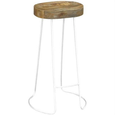 Hannah Metal Wire Bar Stool with Timber Seat,  Natural/Distressed White by Dodicci, a Bar Stools for sale on Style Sourcebook