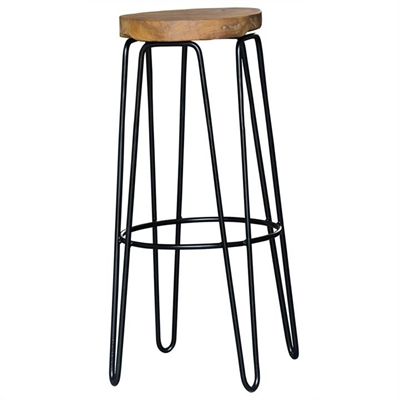 Carlisle Teak Timber & Iron Round Bar Stool by Centrum Furniture, a Bar Stools for sale on Style Sourcebook