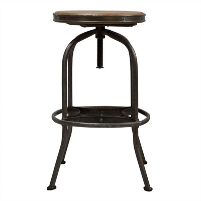 Seaton Metal Adjustable Screw Bar Stool with Timber Seat, Charcoal