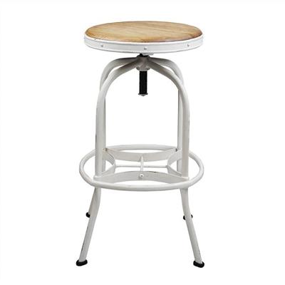 Seaton Metal Adjustable Screw Bar Stool with Timber Seat, White