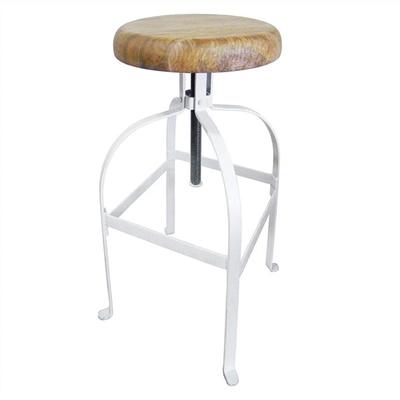 Farringdon Metal Adjustable Screw Bar Stool with Timber Seat,  White