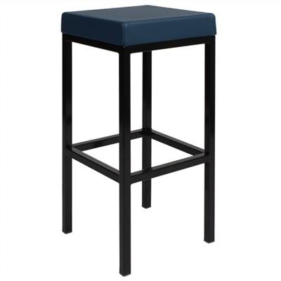 London V2 Commercial Grade Vinyl Upholstered Steel Bar Stool - Blue
