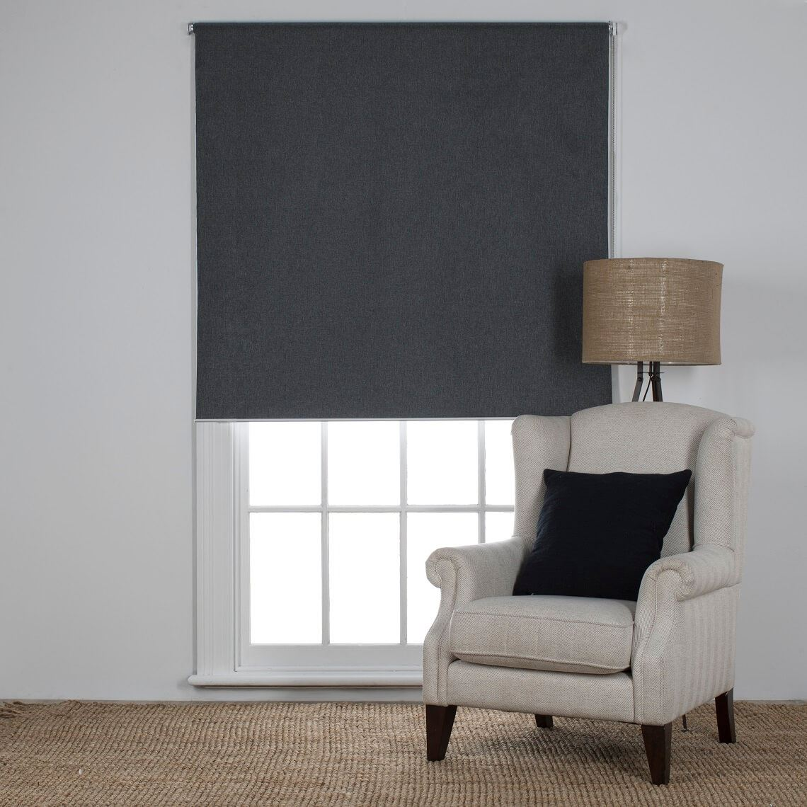 Milton Blockout Roller Blind Size W 90cm x D 0cm x H 210cm in Slate 100% Polyester Freedom by Freedom, a Curtains for sale on Style Sourcebook