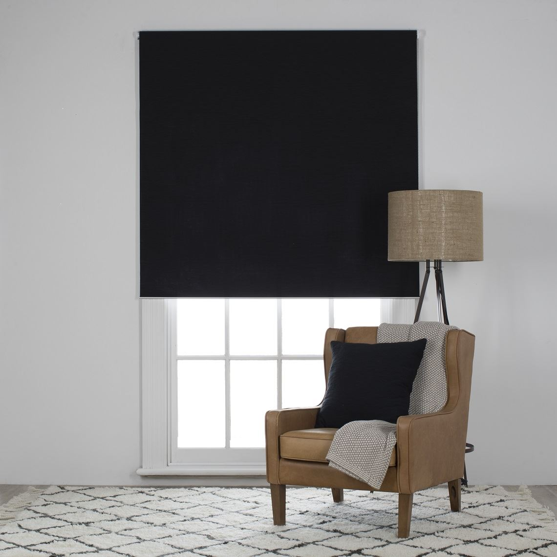 Ashcroft Blockout Roller Blind Size W 150cm x D 3cm x H 210cm in Black 100% Polyester Freedom by Freedom, a Curtains for sale on Style Sourcebook