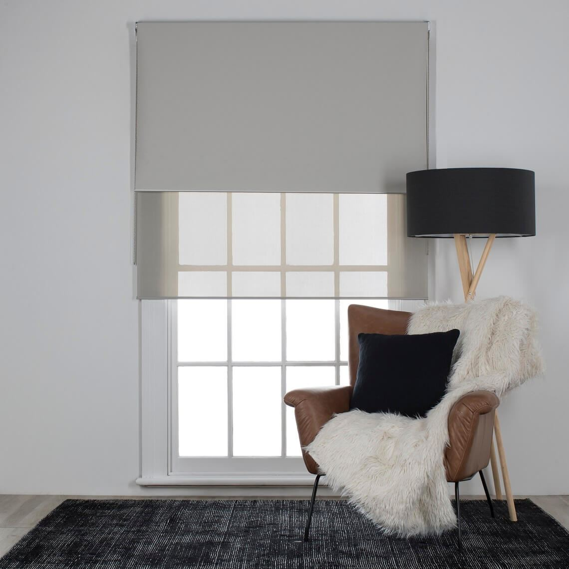 Aurora Set Of 2 Duo Roller Blind Size W 60cm x D 0cm x H 210cm in Almond 100% Polyester Freedom by Freedom, a Curtains for sale on Style Sourcebook
