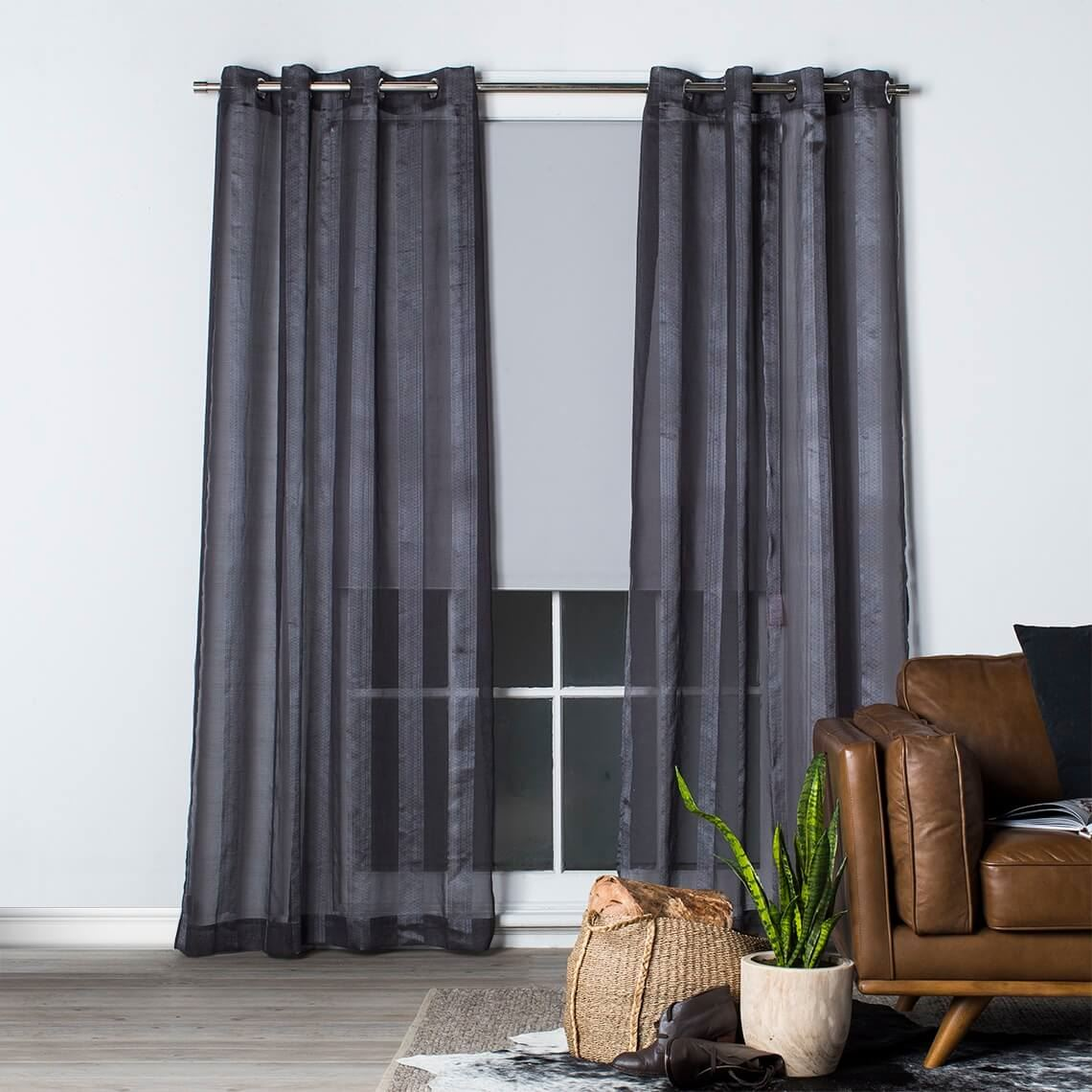 Houston Sheer Eyelet Curtain Size W 140cm x D 1cm x H 230cm in Charcoal 100% Polyester/Stainless Steel Freedom by Freedom, a Curtains for sale on Style Sourcebook