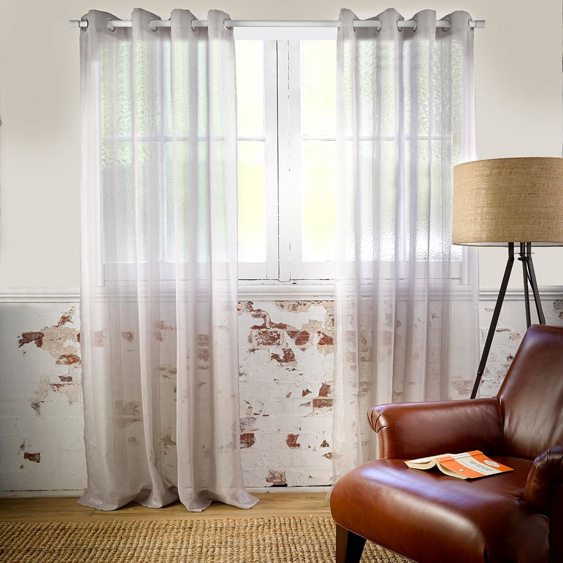 Houston Sheer Eyelet Curtain Size W 140cm x D 1cm x H 230cm in Dove Grey 100% Polyester/Stainless Steel Freedom by Freedom, a Curtains for sale on Style Sourcebook