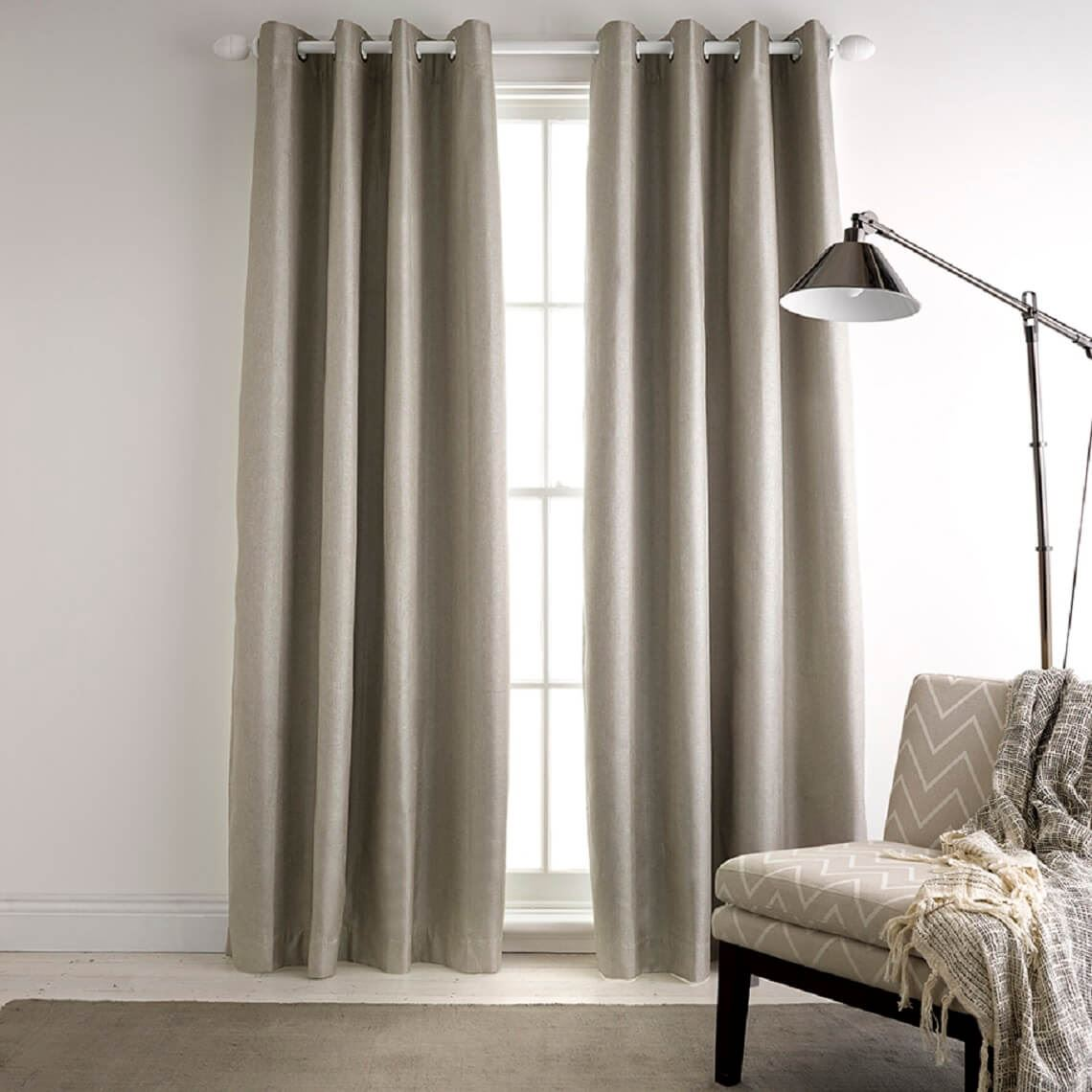 Milton Blockout Curtain Size W 140cm x D 1cm x H 230cm in Mink 100% Polyester/Acrylic Flock Coating/Stainless Steel Freedom by Freedom, a Curtains for sale on Style Sourcebook