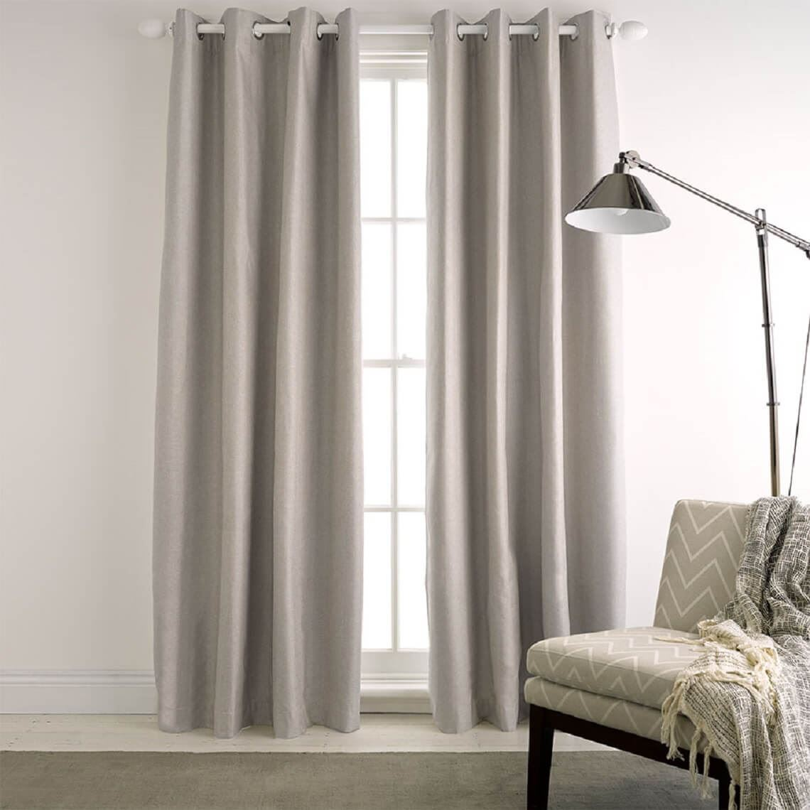 Milton Blockout Eyelet Curtain Size W 140cm x D 1cm x H 230cm in Silver 100% Polyester/Acrylic Flock Coating/Stainless Steel Freedom by Freedom, a Curtains for sale on Style Sourcebook