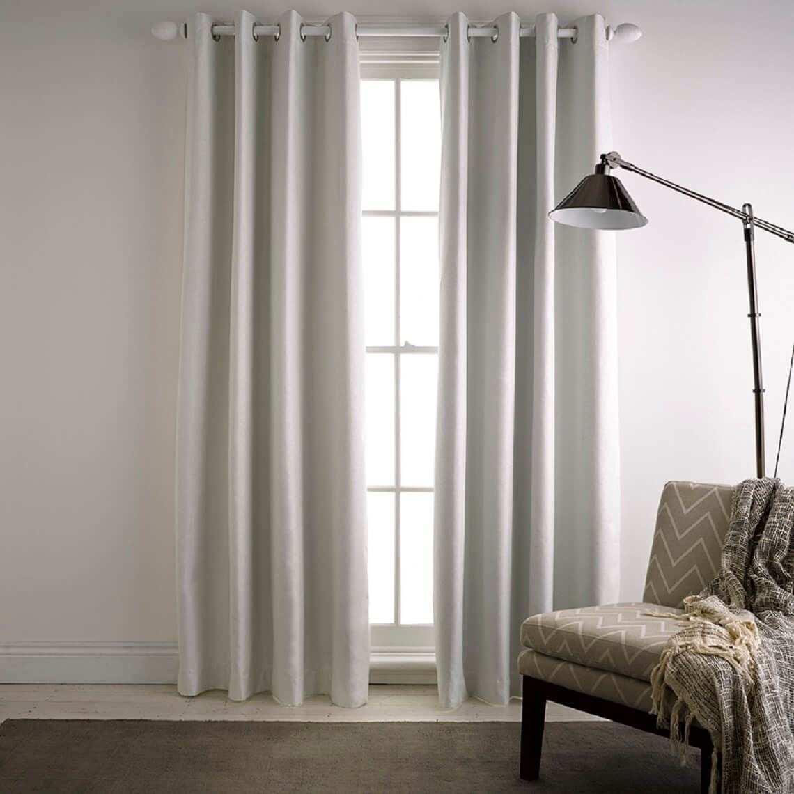 Milton Blockout Eyelet Curtain Size W 140cm x D 1cm x H 230cm in Ivory 100% Polyester/Acrylic Flock Coating/Stainless Steel Freedom by Freedom, a Curtains for sale on Style Sourcebook